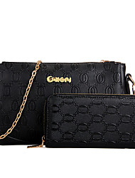 VUITTON ® Women PU Flap Shoulder Bag - White / Blue / Gold / Black