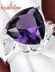 Lucky Shine Women's/Kid's Unisex Silver Special Rings With Gemstone Fire Triangle Heart Amethyst Crystal