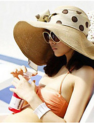Women Casual Summer Linen/Straw Beach Casual Floppy Straw Sun Hat with Ribbon