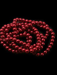 Beadia 3 Str(approx 430pcs) Glass Beads 6mm Round Imitation Pearl Beads Red Color DIY Spacer Loose Beads
