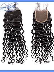 New Star Healthy Hair Peruvian Virgin Human Hair Deep Wave Free Parting Bleached Knots 4*4 Lace Closure