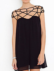 Women's Mini Dress , Chiffon Black Sexy