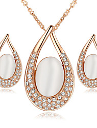 HKTC Valentine's Gift 18k RGP Crystal Elegant Opal Stone Teardrop Stud Earrings and Necklace Sets
