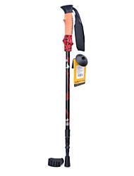 DL003 Carbon Fiber 3-Section Trekking Stick Walking Hiking Pole - Black + Red (60~120cm)