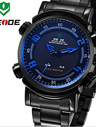 WEIDE Men Sports Analog & Digital LED Display Multi-functional Full Black Stainless Steel Wrist Watch