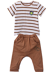 Boy's Round Collar Stripe Short Sleeve Clothing Sets (Cotton)