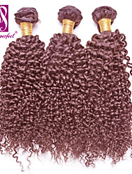 "3pcs/lot 12""-30""  Brazilian Virgin Hair Chocolate Brown Jerry Curl Human Hair Extensions Hair Weaves"