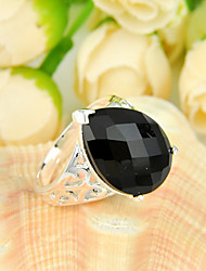 Fashion Family Friend Gift Fire Drop Black Onyx Gem 925 Silver Statement Flower Rings For Wedding Party Daily Casual 1pc