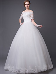 Princess Floor-length Wedding Dress -Strapless Lace