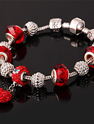 U7 New European Beads Heart Charm Bracelet 18K Gold Plated Bangle SWA Rhinestone for Women High Quality