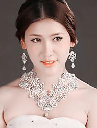 Bride Wedding White Mesh Diamond Noble Flower Earring Necklace Set