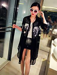 Women's Print White/Black Shirt , Shirt Collar ¾ Sleeve