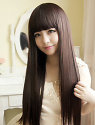 Japan and South Korea Fashion Brown Qi Liu Hai Long Straight Hair Wig