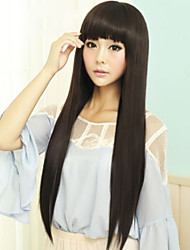 Japan and South Korea Fashion Black Qi Liu Hai Long Straight Hair Wig