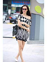 Mulheres Camiseta Casual Simples / Moda de Rua Verão,Estampado Colorido Seda Decote Redondo Manga Curta Fina