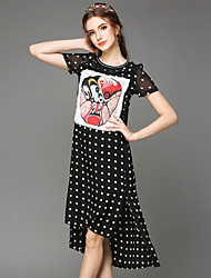 Large size women in the summer of 2015 the new wind wave point China Facebook printing dress code Women's CLOTHING