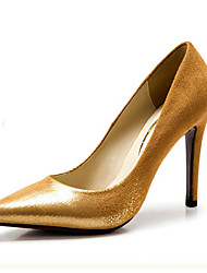 Women's Shoes Fleece/Glitter Stiletto Heel Heels/Pointed Toe Pumps/Heels Wedding/Dress Black/Yellow/Red/Burgundy