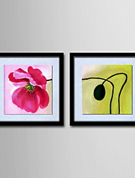 Oil Painting Modern Abstract Flowers Hand Painted Canvas with Stretched Framed - Set of 2