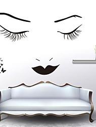 Wandaufkleber Wandtattoo, klassische schwarze lange Wimpern Schönheit PVC-Wandaufkleber