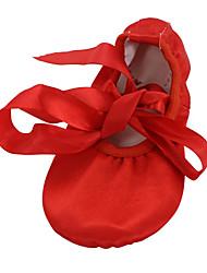 Women's Dance Shoes Belly/Ballet/Yoga/Gymnastics Satin Flat Heel Brown/Red