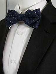 Men's Navy Multicolor Dots Pre-tied Ajustable SilkBlend Wedding Dress SilkBlend Bow Tie