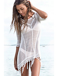 Women's Hollow Out Half Sleeve O-neck Swimwear Cover Up Dress