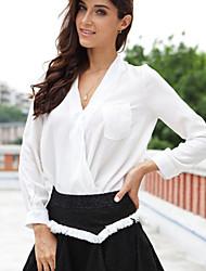 Women's Solid Blue/White Blouse , V Neck Long Sleeve