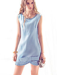 Women's Blue Dress , Work Sleeveless