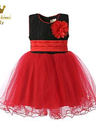 Girl Black And Red Tulle Camellia Soutache Attire Dress