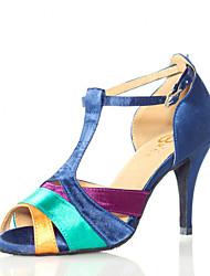 Non Customizable Women's Dance Shoes Latin/Salsa Flocking Stiletto Heel Blue