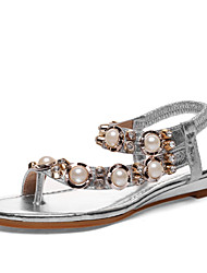 Women's Shoes Leather Flat Heel Toe Ring Sandals Outdoor/Dress/Casual Silver/Gold
