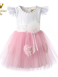 Girl Pink White Tulle Satin Party Dress With Flower