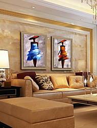 peinture à l'huile décoration personnes abstraits peints à la main lin naturel avec la main tendue encadrée - ensemble de 2