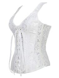Corset Vêtement de nuit Femme Jacquard Polyester / Spandex Blanc / Beige Aux femmes
