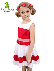 KAMIWA ® Girls Summer Stitching 100%Cotton Princess Dresses Pleated Sleeveless Skirts Children Clothing Kids Clothes