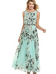 Women's Sleevless Printted Long Dress