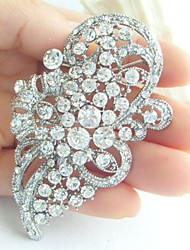Wedding Accessories Silver-tone Clear Rhinestone Crystal Bridal Brooch Wedding Deco Brooch Bouquet Wedding Jewelry