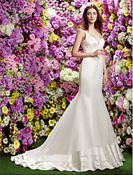 LAN TING BRIDE Trumpet / Mermaid Wedding Dress See-Through Court Train Straps Organza Satin with Appliques