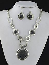 toonykelly® prata da antiguidade do vintage vulcão lava Black Rock (brinco e colar) Conjunto de jóias