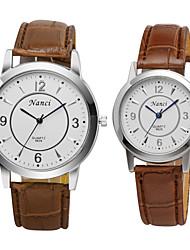 venta caliente mujeres de la moda&hombres reloj de cuarzo ronda banda de cuero de la PU de las parejas casuales reloj de pulsera para