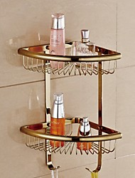 Bathroom Gold Finish Wall Mounted Double Layer Triangle Soap Basket