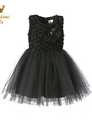 Girl Black Tulle With Flower Ceremony Party Dress