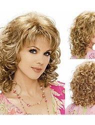 New Arrival Women's Golden Yellow Medium Length Curly Hair HEAT - RESISTANT FIBER Quality Assurance fast Shipping