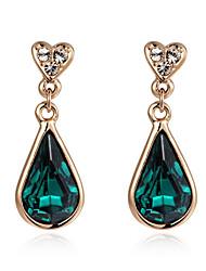 T&C Women's 18K Rose Gold Plated Jewelry Emerald Green Austria Crystal Waterdrop Earrings
