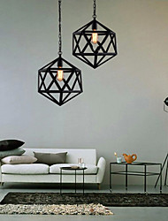 Retro industrial restaurant bar hotel lamp droplight hexahedron artistic originality, wrought iron Pendant Lights
