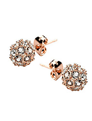 HKTC Elegant Clear Crystal Ball Stud Earrings 18k Rose Gold Plated Cz Diamond Party Jewelry