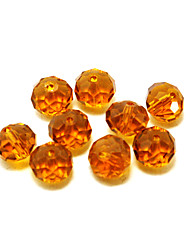 Beadia 80PCS Glass Facetted Crystal Beads 8x10mm Flat Round Shape Brown Color DIY Spacer Loose Beads