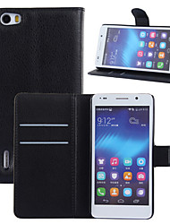 For Huawei Case Wallet / Card Holder / with Stand / Flip Case Full Body Case Solid Color Hard PU Leather Huawei Huawei Honor 6
