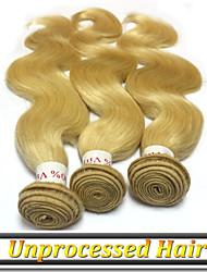 """3шт / много 12 """"-26"""" перуанский девственных человеческого волоса # 613 цвет кузова волна волос ткать"""