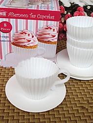 Satz von 4 Nachmittagstee Cupcakes Silikon Tasse Kuchenformen mit Untertassen Spaß Back
